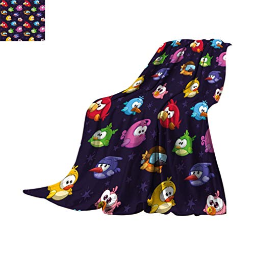 Manta de viaje divertida, Angry Flying Birds figura con varias expresiones juego de juguete para niños Babyish Artsy Image manta de franela difusa para camping cama sofá, 60 x 50 pulgadas, multicolor