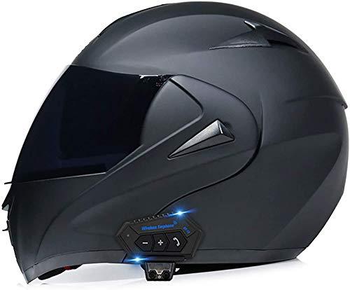 QDY Motorcycle Flip Up Helmet Bluetooth Integrated Motorcycle Modular Full FaceHelmet Motorbike Crash Helmet with Double Visor Dot/ECE Approved Full Face Helmet for Men Women B,S=55~56cm