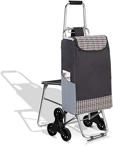 Zjnhl JIAN Trolley Sechsrädriger Aluminiumlegierung Warenkorb for ältere Menschen, altmodischen Einkaufswagen, Klapprad, zu Hause Wagen, Straßenbahn