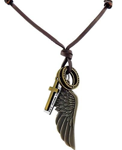 Veuer Collar de cuero genuino y colgante con alas, anillas y cruz para hombre, regalo para Navidad, para un amigo, el marido