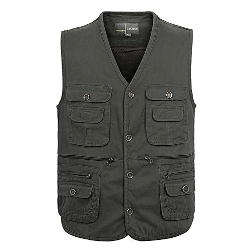 BOZEVON Gilet Casual pour Hommes - Manteau sans Manches en Plein Air avec Plusieurs Poches - pour Toutes Les Saisons - XL/Style 1
