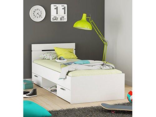 möbelando Kompaktbett Einzelbett Bettgestell Bett Bettrahmen Funktionsbett Lorenzo II Perle Weiß