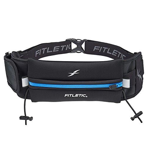 Fitletic Ultimate II Race Belt (Running Belt) – Black & Blue | Patented No Bounce Technology for Marathon, Triathlon, Ironman, Trail, 5K, 10K | Sport Belt | N04-04