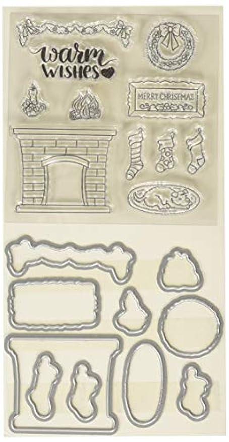 CottageCutz Cozy Fireplace Stamp & Die Set epwacxzwcva147