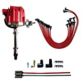 MAS HEI Distributor & Spark Plug Wires & FREE 170072 HEI Distributor Battery and Tachometer Pigtail Wire Harness Combo Kit Replacement For Chevy Chevrolet GMC SBC 350 400