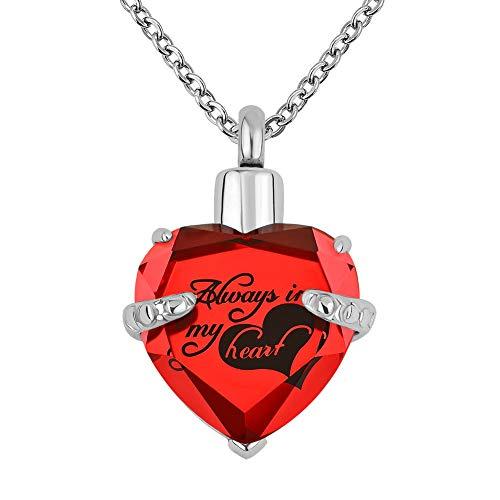 Uniqueen - Collar con colgante de urna de cristal para cenizas rojo rojo
