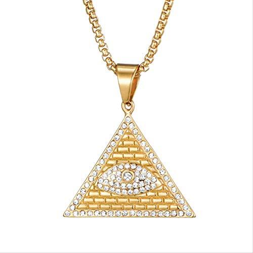 Nobrand Vintage Kristall Ägypten Pyramide Allsehende Illuminati Eye Anhänger Halskette für Männer Iced Out Bling Schmuck
