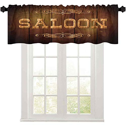 """Light-Filtering Curtain Valance Western,Vintage Curlicues Ornament 36"""" W x 18"""" L Blackout Valances Curtain for Small Window"""