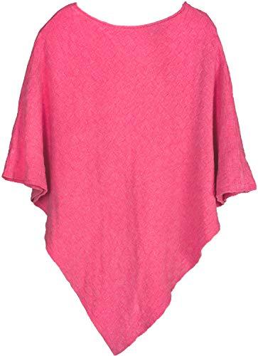 styleBREAKER Damen Feinstrick Poncho mit Karo Schachbrett Struktur, Rundhals 08010053, Farbe:Pink