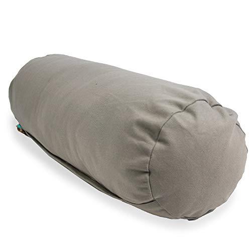 Myga RY1294 Almohada de apoyo de trigo sarraceno para yoga restaurativo - Cojín de apoyo suave y estable para el embarazo, 63 x 25cm, Gris