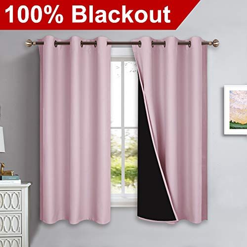 NICETOWN 100% Blackout Lined Curtains, Totally Darkness Drapes, Thermal Insulated Drapes for Daughters Nursery (Lavender Pink, 1 Pair, 42 inches Width x 63 inches Length Each Panel)