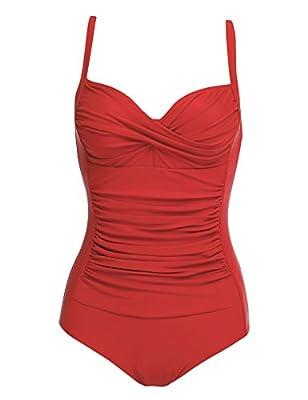 Ekouaer Vintage Retro Bathing Suit for One Piece Monikini Swimsuit, Red, Medium