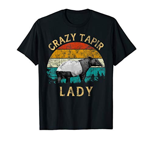 Tapir Lover Retro Vintage Sunset Tree Men Crazy Tapir Lady T-Shirt