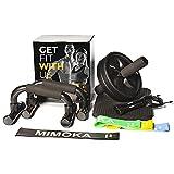 Mimoka Kit Gimnasio en Casa - 4 en 1 con Bandas Elásticas de Musculación - Comba Crossfit Hombre y Mujer - Rueda Abdominales - Push Up Bars - Alfombrilla Protectora Rodillas