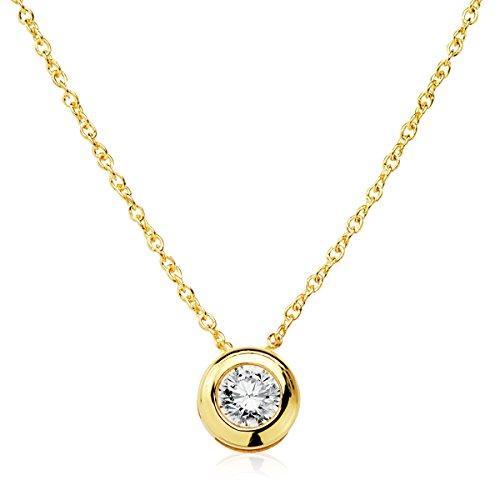 Iyé Biyé Jewels Collar Colgante Mujer chatón 5mm Oro Amarillo 18 ktes circonita 3mm Cadena 40cm...