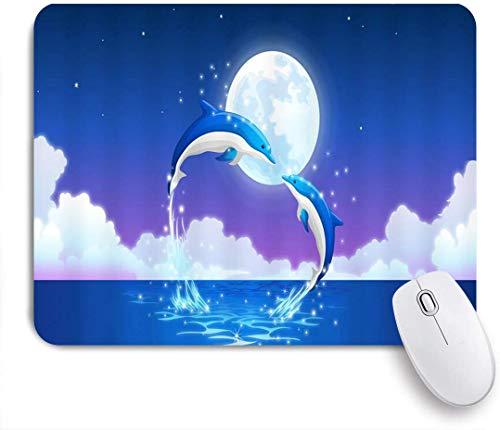 Dekoratives Gaming-Mauspad,Dolphin Love Ocean Cute Animal Dolphin Mutter und Kind springen mit Herzform Star Shining Moon,Bürocomputer-Mausmatte mit rutschfester Gummibasis