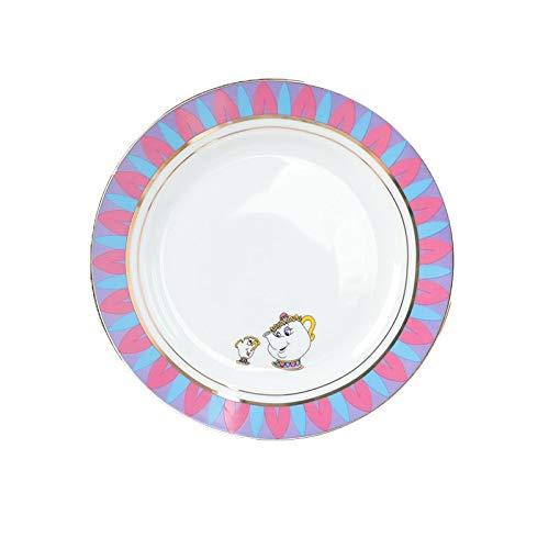 feiren Taza de té con diseño de dibujos animados de la Bella y la Bestia, diseño de la señora Potts Chip Tea Pot Cup Set de taza de café de porcelana (color: plato de postre de 20 cm)