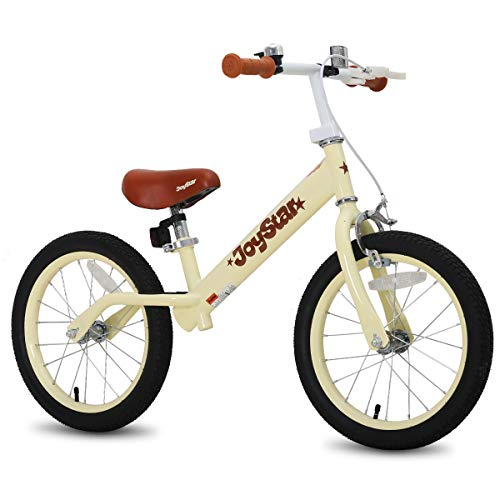 "JOYSTAR 16"" Balance Bike for Big Kids 5, 6, 7, 8 and 9 Years Old with Rubber Tire and Adjustable seat and Front handbrake, Blue, Pink, Beige, Black"