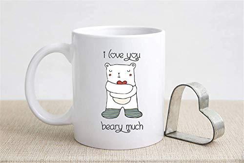 N\A Día de San Valentín Te Amo Beary Much Taza de café Oso con corazón Taza de té Regalo de San Valentín Amor Romance Apto para lavavajillas
