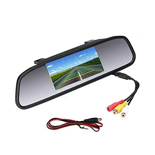 LIULIANG MeiKeL 4.3'Coche Retrovisor Monitor Monitor de Espejo Vista Trasera TFT-CCD Video Auto Auto Estacionamiento Kit 4 LED Visión Nocturna Inversión al Estilo de automóvil (Color : Monitor)