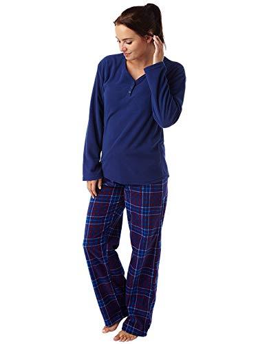 Ladies Geometric Print Warm Supersoft Fleece Pyjama Navy Check