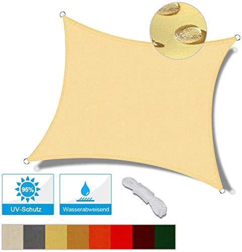XRDSHY Sun Shade Sail Rectangle 2x2m Wasserdichter Baldachin Markise UV-Block Für Garten Außenterrasse,Beige-3.6x3.6m(12x12ft)