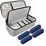 Portable and Reusable for Insulin Cooler Case with 4 Ice Pack,Diabetic Organizer Medical Travel Cooler Bag(Light Grey)