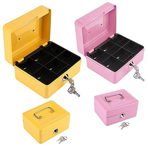 Caja de efectivo, pequeña caja de efectivo con cerradura de llave, 1 unidad, mini caja de seguridad portátil de acero con cerradura pequeña para dinero en efectivo, caja de(Pequeño rosa)