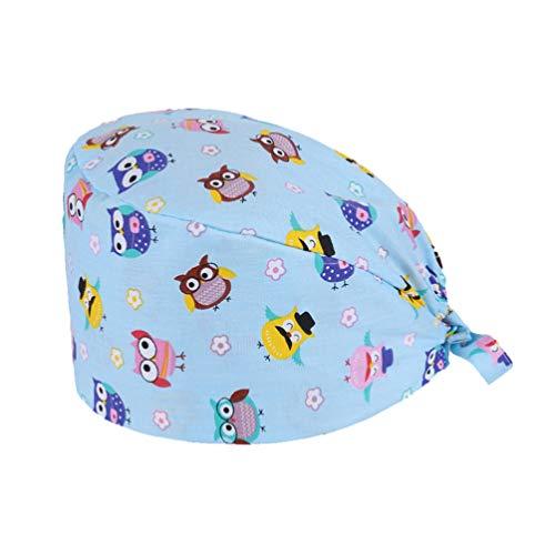 TENDYCOCO Cuffia per Regolabile cap di Lavoro Stampati Cotton Bouffant Hat Scrub Caps (Gufo)