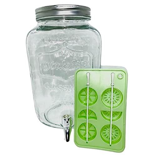 Dispensador de bebidas con grifo – Fuente de cristal transparente de gran capacidad 8 L, dispensador de agua, limonada o cóctel ideal para encuadernar entre amigos