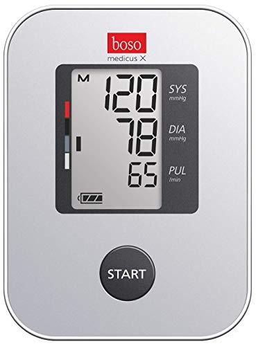 boso medicus X - Bestes Oberarm-Blutdruckmessgerät mit Einknopfbedienung, großem Display und Arrhythmie-Erkennung – Mit Standard-Manschette (22-32cm)