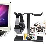 FAMKIT Soporte doble para auriculares, soporte para auriculares, soporte para auriculares, soporte para escritorio, soporte para auriculares (auriculares no incluidos).