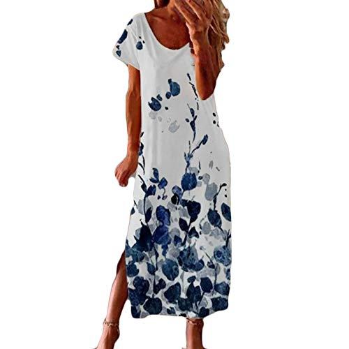 Xisimei Vestido de cctel para mujer, vestido de verano, escote en V, vestido de verano, vestido de noche, vestido de fiesta, casual, camisola., azul, M