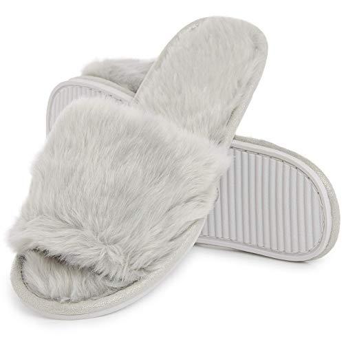 Ciabatte con Pelliccia da Donna in Memory Foam Babucce Morbide Pantofole Invernali Rosso Grigio Bianco Panna (38/39 EU, Grigio)