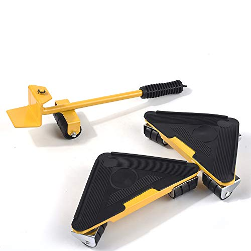 Conjunto de herramientas de transporte de muebles: polea de silencio ajustable de 180 °, con 1 varilla de elevación y 4 juegos de ruedas, fácil movimiento de muebles grandes, lavadora y refrigerador
