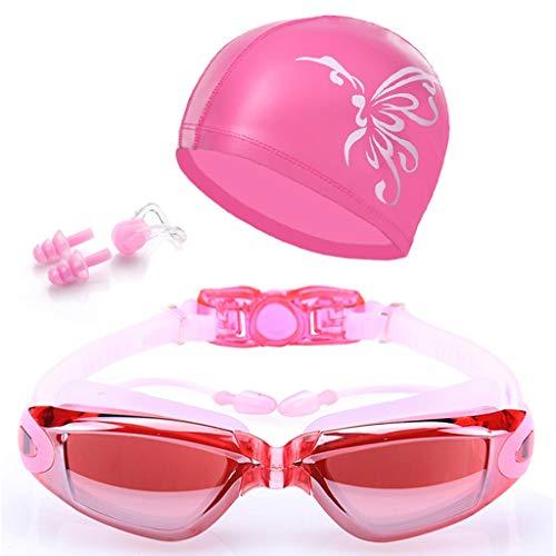 ENG Schutzbrillen, HD-wasserdichte und beschlagfreie Schwimmbrille für Männer und Frauen - großer Spiegel für Rahmenüberzüge mit Ohrstöpsel Brille zum Senden von Hüten und technischen Innovationen Sia