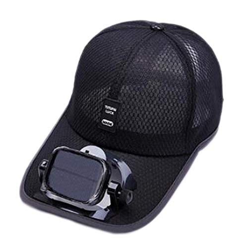 ANHPI Enfriamiento del Ventilador Sombrero de Beisbol Carga Dual USB Solar al Aire Libre Sombra Protector Solar Gorro de Viaje Deportivo, 5 Colores (Color : #1, Size : Head Circumference (56-62cm))
