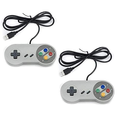 TRIXES 2er Pack SNES NES Controller USB - Klassischer Retro Gaming Joypads Gamepad kompatibel mit Gaming PC, Computer, Laptop,Apple MAC, Raspberry Pi, Wii U