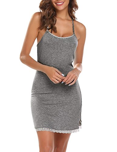 Ekouaer Women's Nightgowns Short Sleeve Nightgown Cotton Pajamas pj Sleepwear Night Shirt