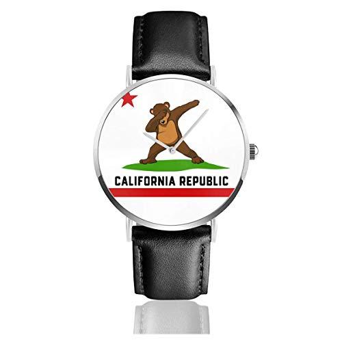 California Republic Flag Dabbing Bear Correa de Cuero Reloj de Pulsera de Cuarzo Banda de Cuero Negro y Esfera Delgada