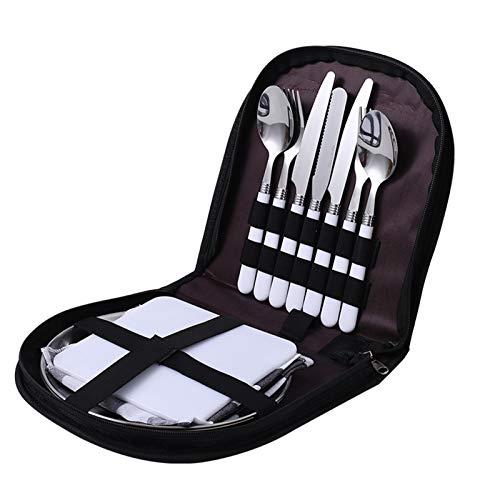 Cocina Picnic al aire libre camping vajilla tenedor cuchara cuchilla abrelatas de botella de botella de acero inoxidable bolsillo plegable vajilla conjunto de herramientas de cocina combinadas cubiert