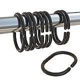 Qulable Duschvorhangringe aus Kunststoff, C-Ringe für Badezimmer, Dusche, Fenster, Schwarz, 24 Stück