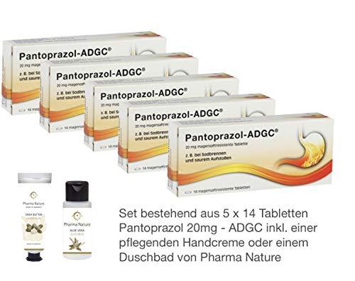 Pantoprazol ADGC 20mg 5 x 14 Tabletten Sparset - inkl. einer pflegenden Handcreme o. Duschbad von Pharma Nature