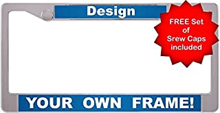 Custom Personalized Plastic Chrome-Plated Car License Plate Frame with Free caps - Blue/White