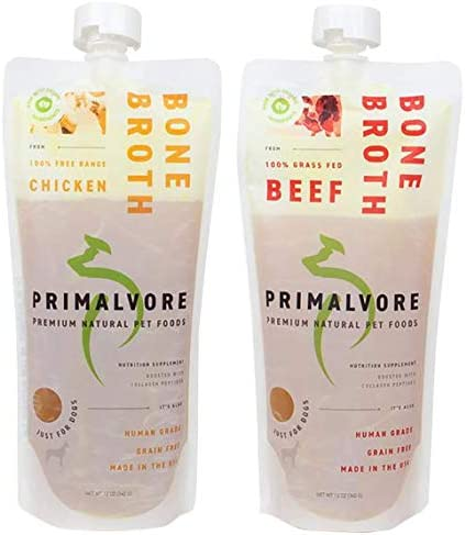 Primalvore Organic Bone Broth Food Topper for Dogs Cats Collagen Peptides for Improved Joint product image