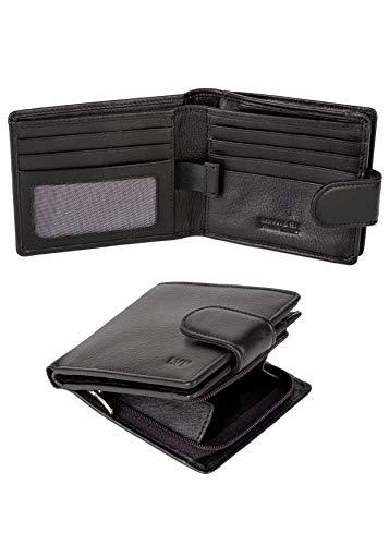 Portefeuille pour Hommes en Cuir véritable RFID système antivol Porte-Cartes en Cuir Mince Sac à Main Poche à glissière à la Main pièces de Monnaie Portefeuille Jeunesse Parfait pour Cadeau