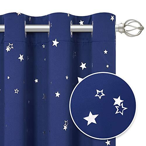 PONY DANCE Vorhang Sterne Kinderzimmer - Ösenvorhang Blickdicht Blau Kindergardinen Junge Verdunkelungsvorhänge Thermo, 2 Stücke H 160 x B 132 cm