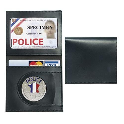 Porte Carte Cuir Format CB + Billet avec Insigne Police