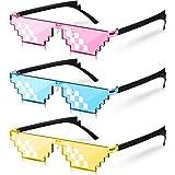 3 Paia Occhiali da Sole Pixel Occhiali da Sole Thug Occhiali Cool Thug Occhiali da Sole Pixel in Plastica Accessori di Feste per Ragazzi e Ragazze Adulti