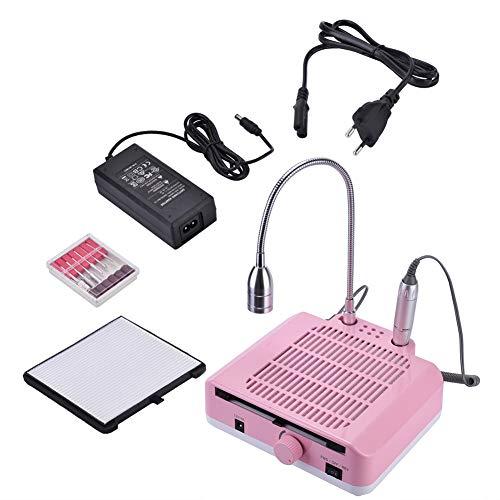 Filtre d'aspirateur de filtre de polisseur de vernis à ongles 3-en-1 LED allumant une machine multifonctionnelle de rectification professionnelle de machine à clous 110 / 220v,Pink